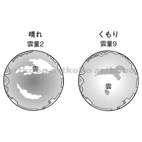 Web教材イラスト図版工房 / r_c2m_雲量と天気_1